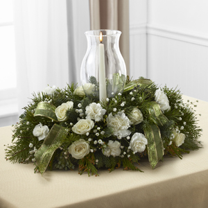 Christmas & Holiday Party Floral Arrangement with Candle