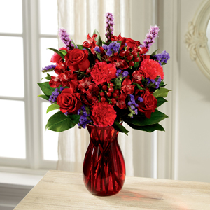 Red and Purple Bouquet for Valentine's Day